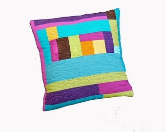 Modern geometric quilted cushion cover, pillow cover, modern home decor, pillow case, modern pillow, modern cushion, teal pink orange purple