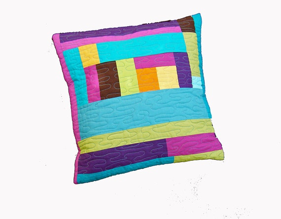 Items similar to Modern geometric quilted cushion cover, pillow cover, modern home decor, pillow ...