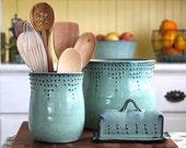 Utensil Holder - Medium Size - Aqua Mist - Hand Thrown Vase - Modern Kitchen Home Decor - MADE TO ORDER