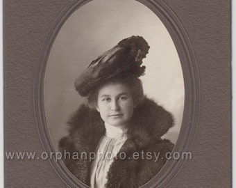 Vintage/Antique beautiful cabinet photo of a woman with a gorgeous hat and a fur coat