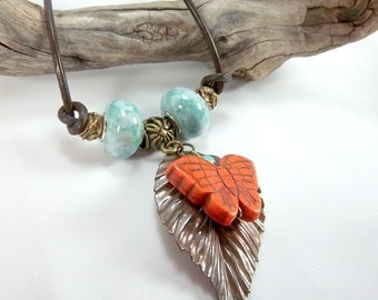 Butterfly and Leaf Necklace, Turquoise and Orange, Copper Leaf, Boho, Leather Cord