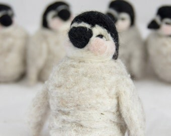 Needle Felted Penguin Toy or Ornament from Natural Canadian Wool