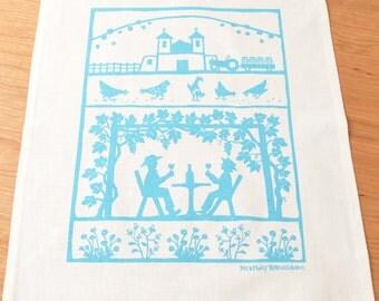 Vineyard Linen Cotton Tea Towel: Turquoise