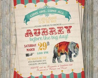 Vintage Circus baby shower invitations with Elephant, digital, printable file