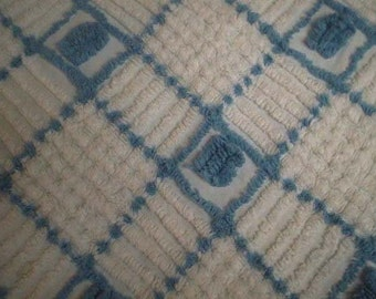"""Steel BLUE Diamonds, Rectangles and POPS with White Lattice and Line Designs Vintage Chenille Bedspread Fabric - 25"""" X 28"""" - Last Piece"""