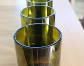 Set of 4 Recycled merlot bottle glasses, hand-cut and hand-polished