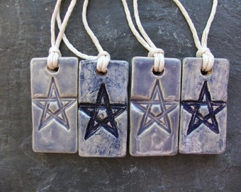 Small Ceramic Gift Tags - Set of 4 - Purple - Blue - Star - Pentagram