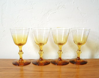 8 Vintage Cordial Glasses Set of 8 Amber Ombre Wine Yellow Gold Liqueur Aperitif Sherry Stemware Barware