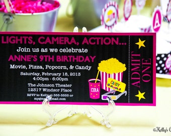 Movie Night Ticket Invitation... Custom, Printable, Digital