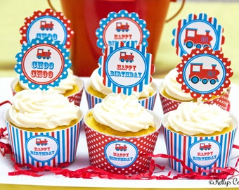 Vintage Train Birthday Party Cupcake Kit- 2 Inch Party Circles and Cupcake Wrappers, Instant Download, Printable, Digital