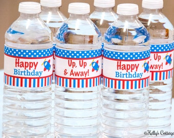 Airplane Birthday Party Water Bottle Wraps, Instant Download, Printable, Digital