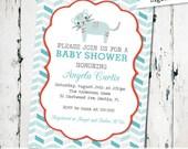 Cat Baby Shower Invitation, gender neutral baby shower invite, modern shower invite digital, printable (JPD37)