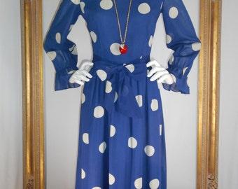 Vintage 1970's Tori Richard Blue Polka Dot Cotton Dress - Size 12