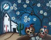 Needlepoint Canvas 14 or 18 count, By Lori Everett, Black Birds, Day Of The Dead, DOD, Hills, Folk Art, Skys, Skulls, Mexican Art