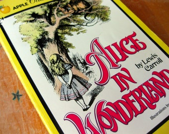 Vintage Children's Classic Book-Alice in Wonderland by Lewis Carroll-Paperback with Black & White illustrations by Sir John Tenniel-Fiction