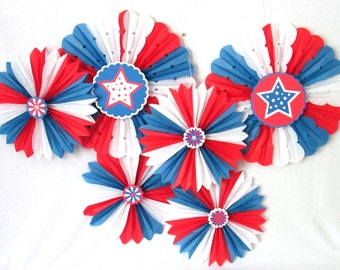4th of July Decorations Hanging Fans Rosettes Hanging Tissue Fans Red White and Blue Fourth of July Decoration July 4th Table Background