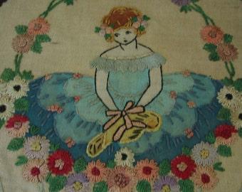 1920s French Boudoir Needlework Piece with Metallic Trim Large