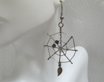 Handmade Sterling Spider and Web Earrings