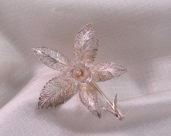 Vintage Silver Filigree Orchid Brooch