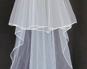 Diamond White (Off White) Double Layer 48 Inch Long Bridal Veil