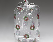 """Large """"CHRISTMAS WREATHS"""" Print Cello Treat Snack Goodie Bags Cellophane Baggies (Free Shipping!)"""