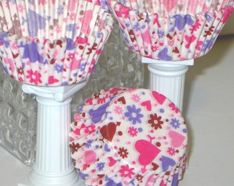 50ct Pink Purple Hearts Polka Dots & Flowers Baking Cups Cupcake Muffin Liners STANDARD SIZE