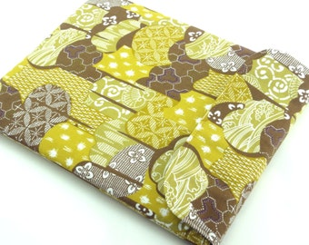 SALE Gift For Mom, iPad 4 Sleeves, Unique iPad Cover, Japanese Kimono Cotton Fabric Traditional Patterns Ocher Brown