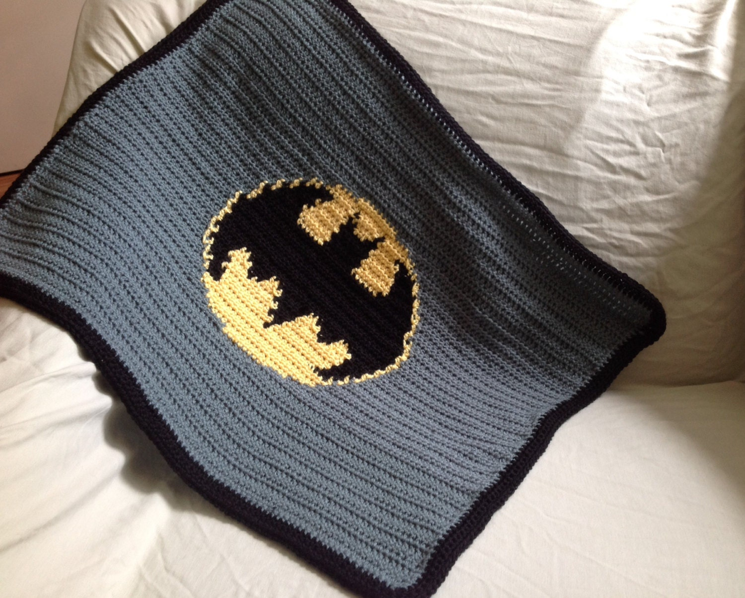 Handmade Crochet Batman Baby Stroller Blanket Traveller New