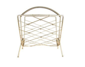 Vintage Mid Century MCM Gold Metal Magazine Record Storage Rack