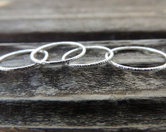 Simple Silver Ring 18g - 1mm Delicate Ring - Textured Sterling Silver Stacking Ring - 1mm Dainty Ring -  Made to Order Stackable Rings