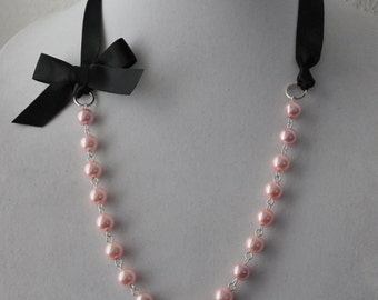 Pink Pearl and Black Ribbon Bow Necklace