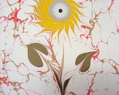 "Sunflower - Original Marbling Art, Marbled Paper, The Original ""Marbled Graphics""TM by Robert Wu"