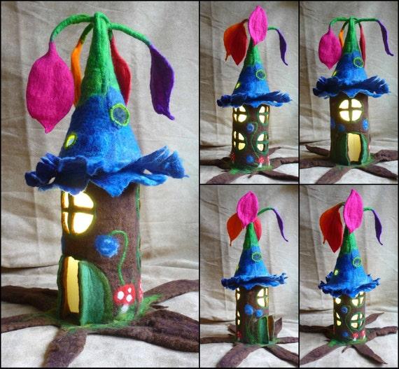 Felted fairy lamp tree lamp bedside lamp night light - La maison des contes de fees ...