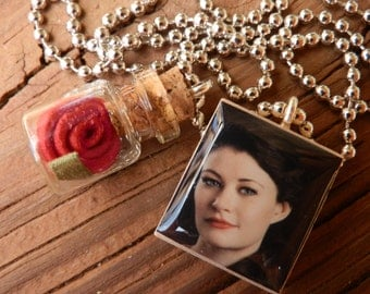 Once Upon A Time Beauty And The Beast Belle Scrabble Tile Pendant Necklace With Rose In A Bottle Charm
