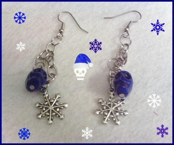 Holiday Snowflake And Blue skull earings