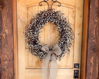 Primitive Fall Door Wreath-Fall Wreaths-BURLAP BURGUNDY & CREAM Wreath-Large Fall Door Wreath-Rustic Home Decor-Custom Made Scented Wreaths