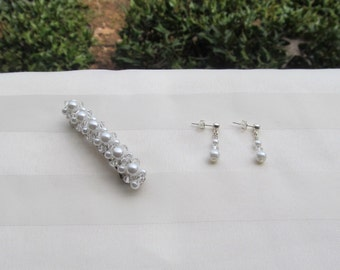 Swarovski White Pearl Barrette and Pearl Earrings Set Choose Your Size Barrette
