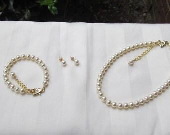 Ivory Pearls Flower Girl Jewelry Swarovski Cream Pearls Bridal Jewelry Set