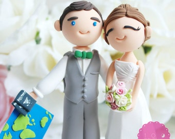 Custom Cake Topper- Travel around the world together