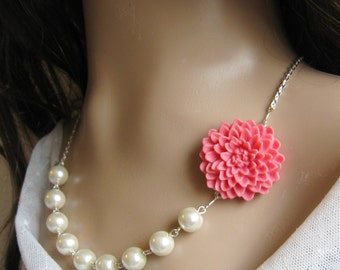 Chrysanthemum  pearl necklace, bridal, bridesmaids necklace, wedding jewelry - F005  (Choose your pearl colour)