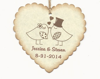 100 PERSONALIZED Heart Shaped Love birds Thank you Tag -Wedding  Favor tags-Shower or Gift tags-Hang Tags-Jelly/Jam/Honey Jar tags