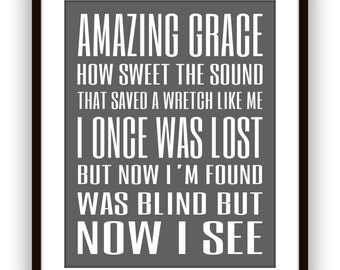 Scripture Art, Amazing Grace, Song Lyrics, Christian Hymn Amazing Grace Sign