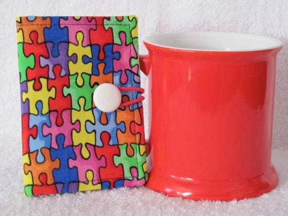 Quilted Tea Wallet in a Jig Saw Pattern Fabric - Teacher Gift with Cute Bright Stripe Fabric with White Button with Elastic Loop to Close