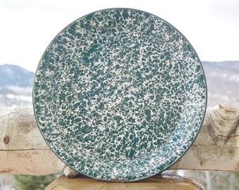 Green Teal Splatterware Platter Enamelware Splatter Ware