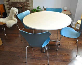 sale  1969/71 Series 7 Arne Jacobsen for Fritz Hansen Peacock blue Plywood Vintage Rare Chairs Denmark MCM Danish Modern