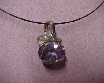 Vintage Natural Amethyst Solitaire Pendant, 17MM x 12MM, Approx. 10 Carat, Sterling Silver, 6.7 Gram