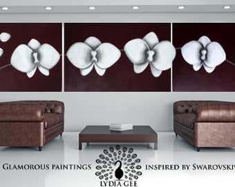Huge painting + Swarovski® original painting. Huge wall art. White orchids art. Three panel wall art purple painting. Flower painting.