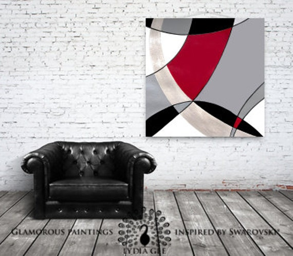 Contemporary art. Abstract art inspired by Mondrian & Hermes. Fashion art painting. Geometric artwork Mondrian pattern. Modern art Lydia Gee