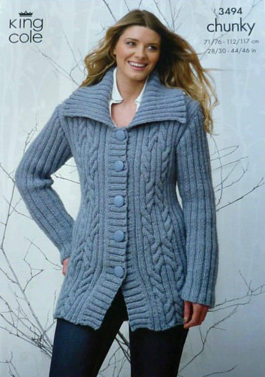 Knitting Pattern Ladies Long Coat : Womens Knitting Pattern K3494 Ladies Long Sleeve Cable Coat