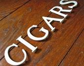Vintage Menu Board Letters CIGARS White Plastic Vintage Decor Cigar Lovers